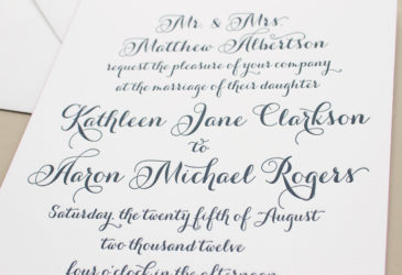 calligraphy script wedding invitations