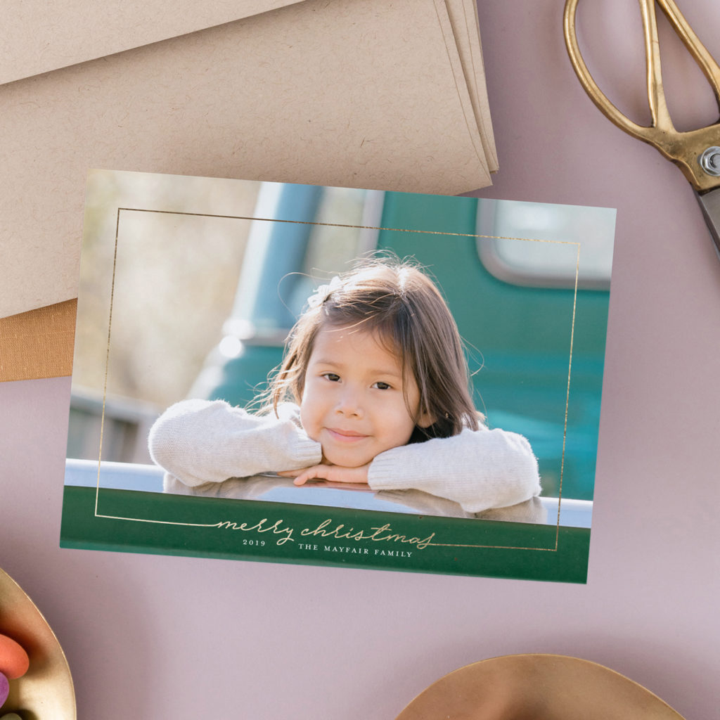 minted gold foil christmas cards
