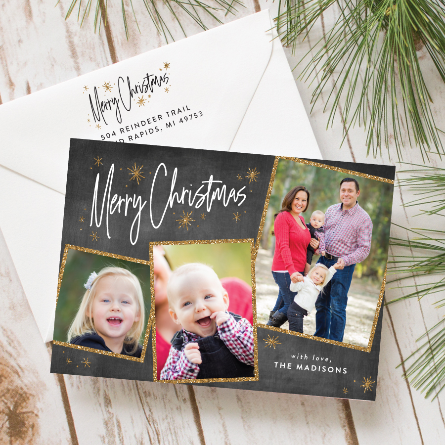 chalkboard photo collage christmas card