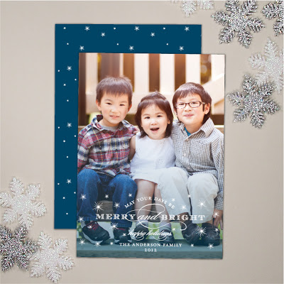 holiday photo card in custom colors