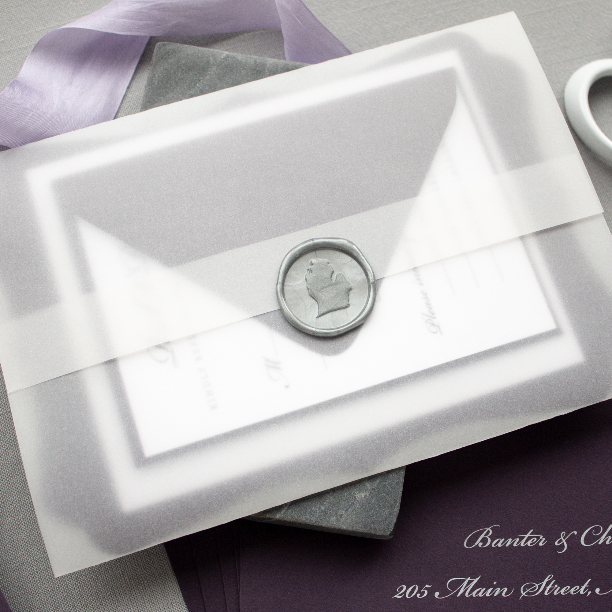 Michigan wax seal wedding invitation