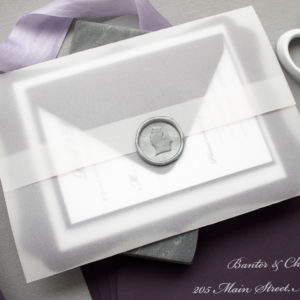 Michigan Wedding Invitations in Silver and Eggplant | Rosemary