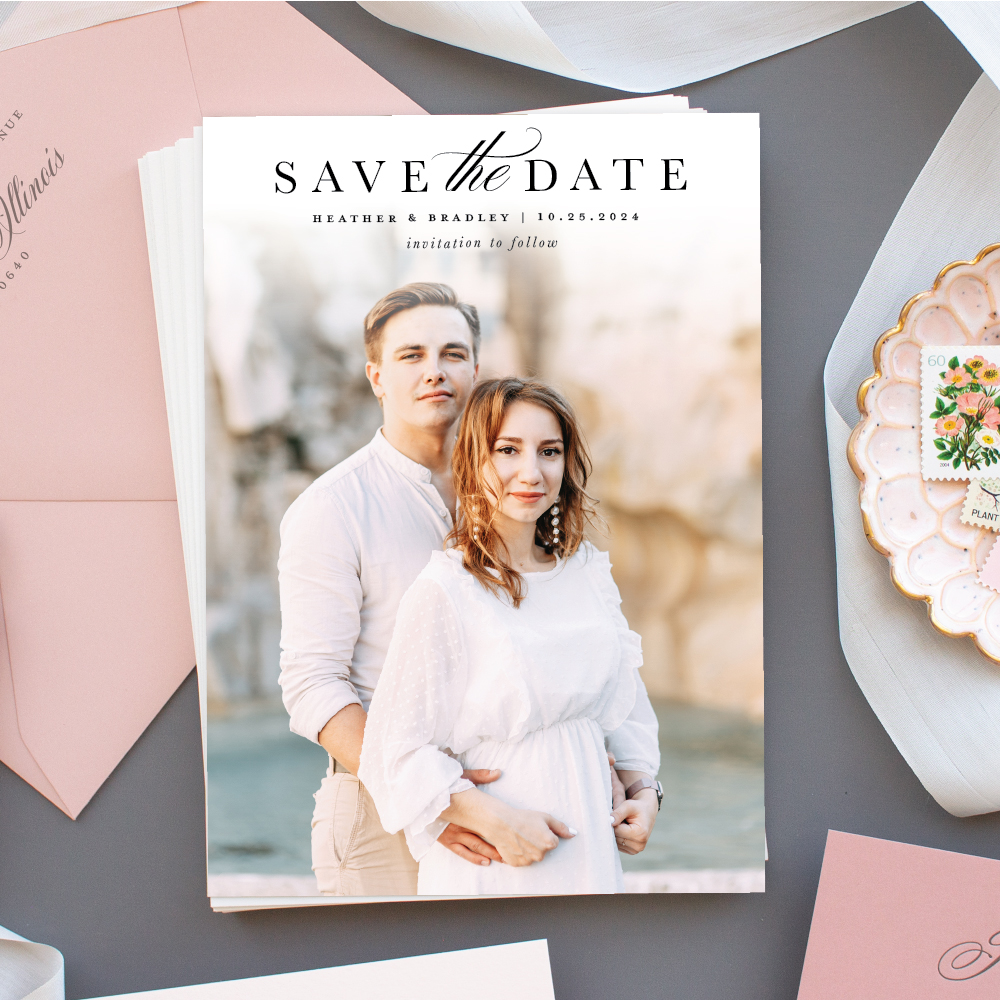 Modern Photo Save the Date Card portrait