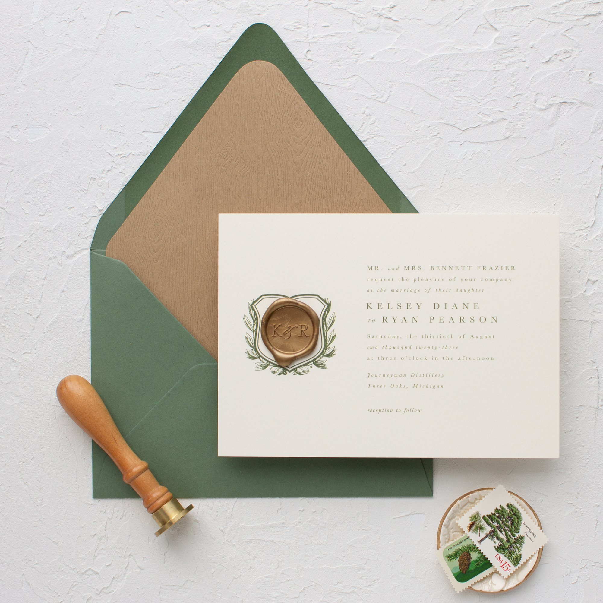 monogram wax seal wedding invitation