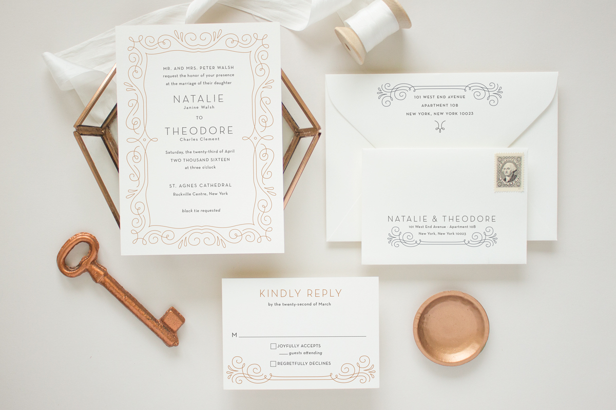 Custom art deco wedding invitation suite