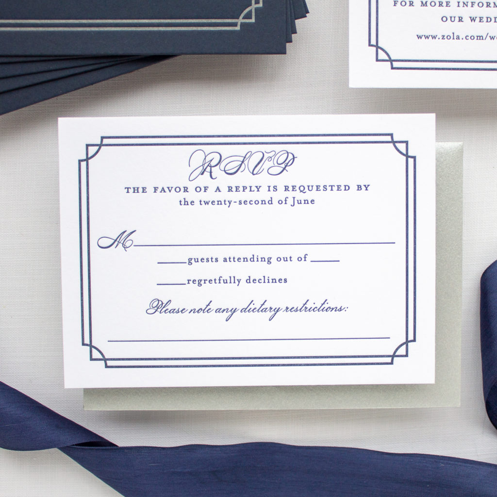 navy letterpress RSVP card