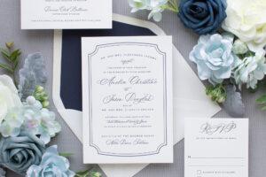 navy letterpress wedding invitations