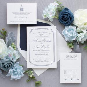Navy Letterpress Wedding Invitations | Dapper
