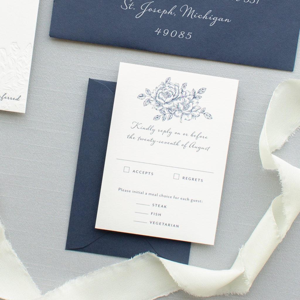 navy blue wedding rsvp card