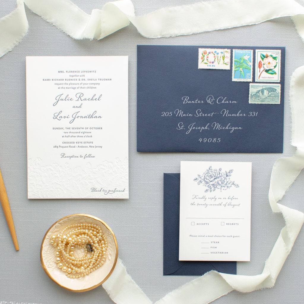 Navy Letterpress Invitation Suite