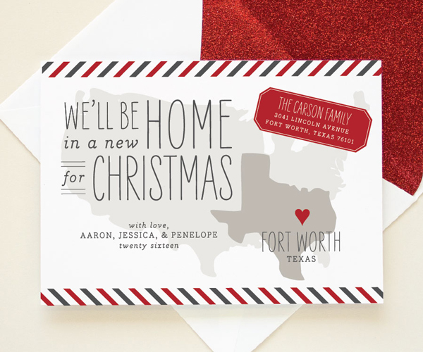 texas map moving announcement holiday card