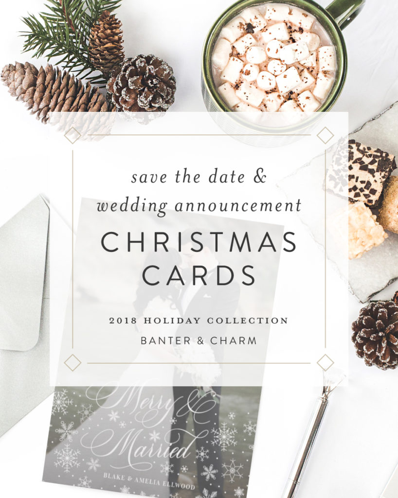 holiday save the dates and newlywed christmas cards