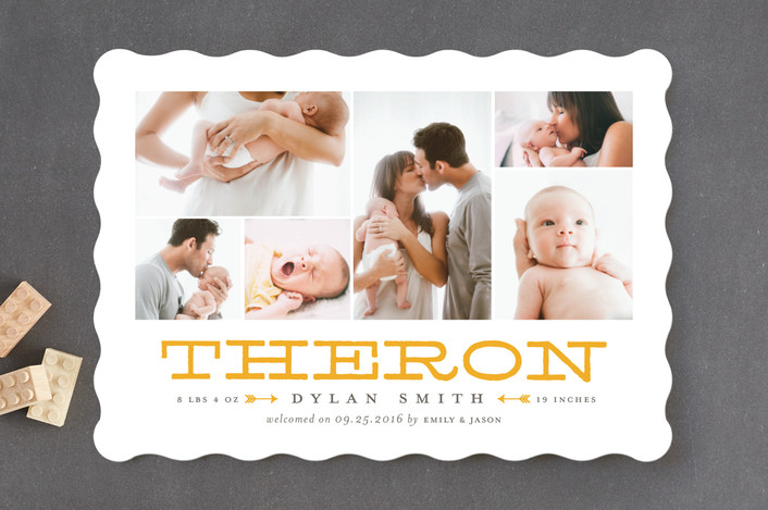 die cut shape birth announcements
