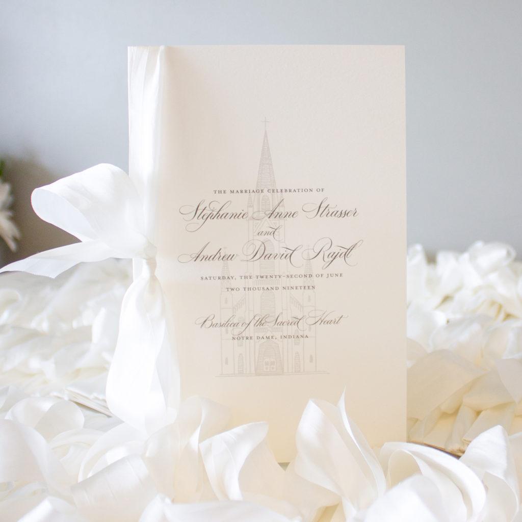 wedding program with silk ribbon