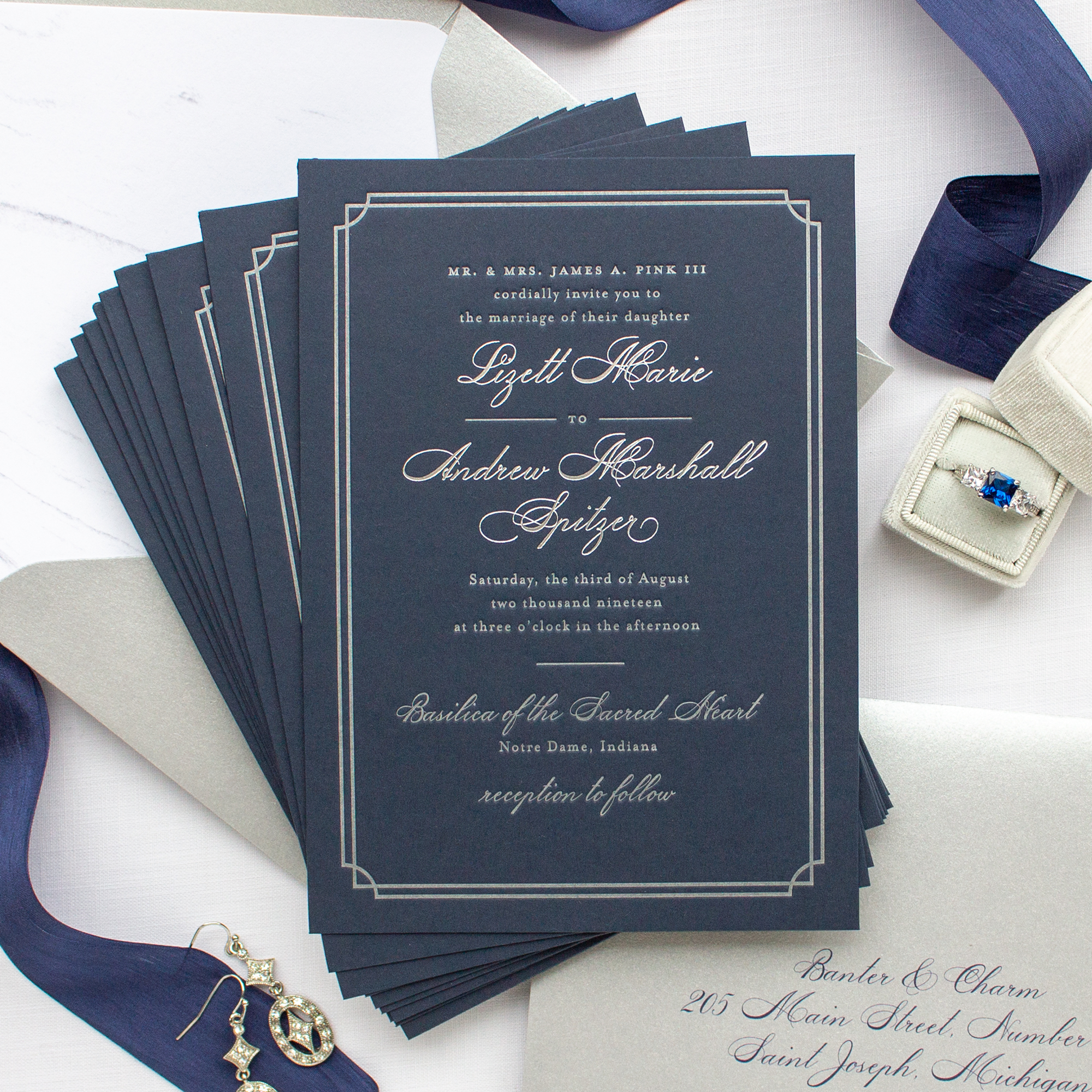 Notre Dame Basilica Wedding Invitation