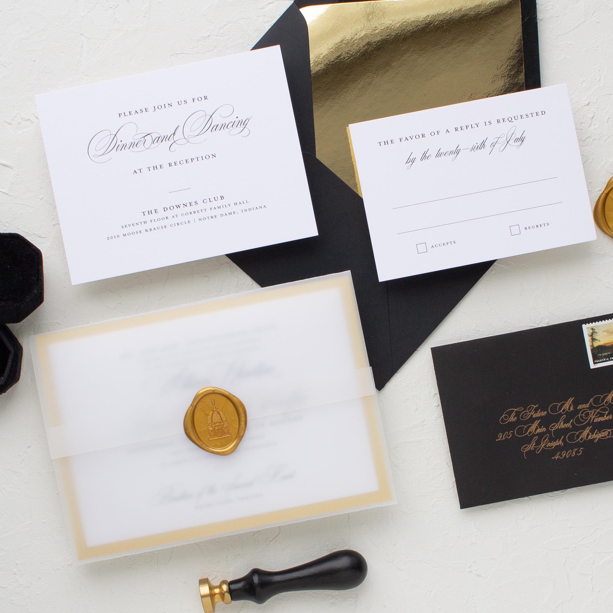 notre dame golden dome wedding invitation
