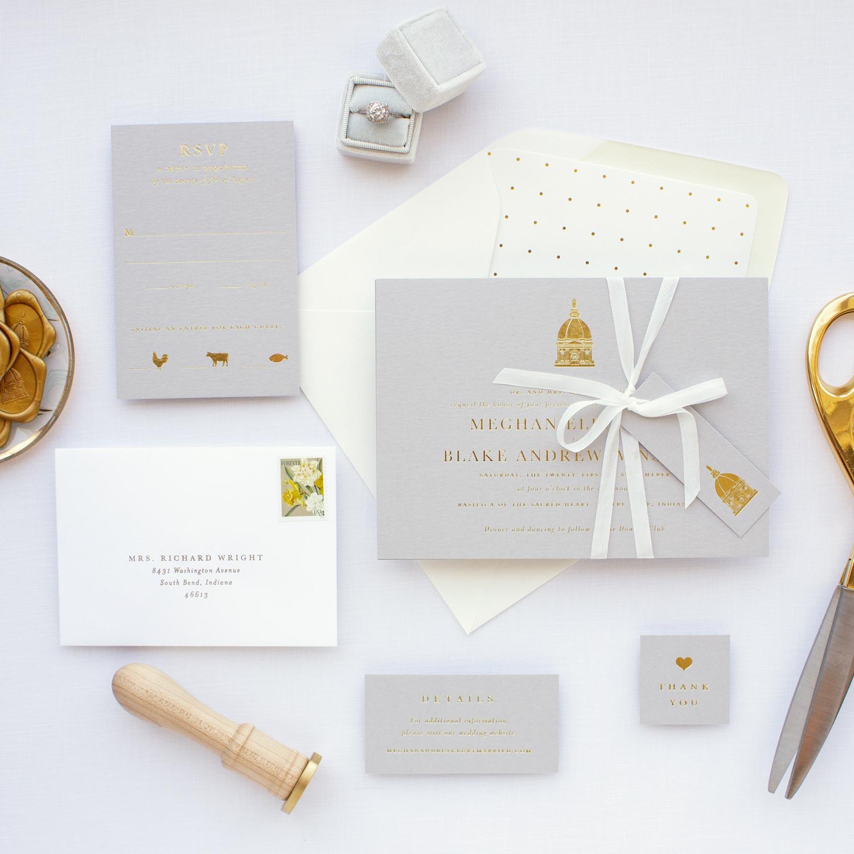 notre dame wedding invitation suite