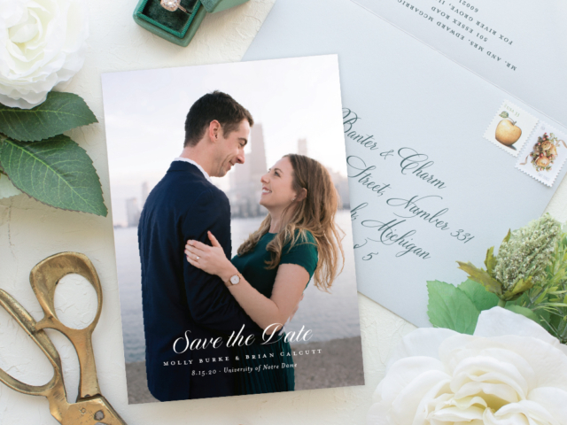 Notre Dame Wedding Save the Date portrait