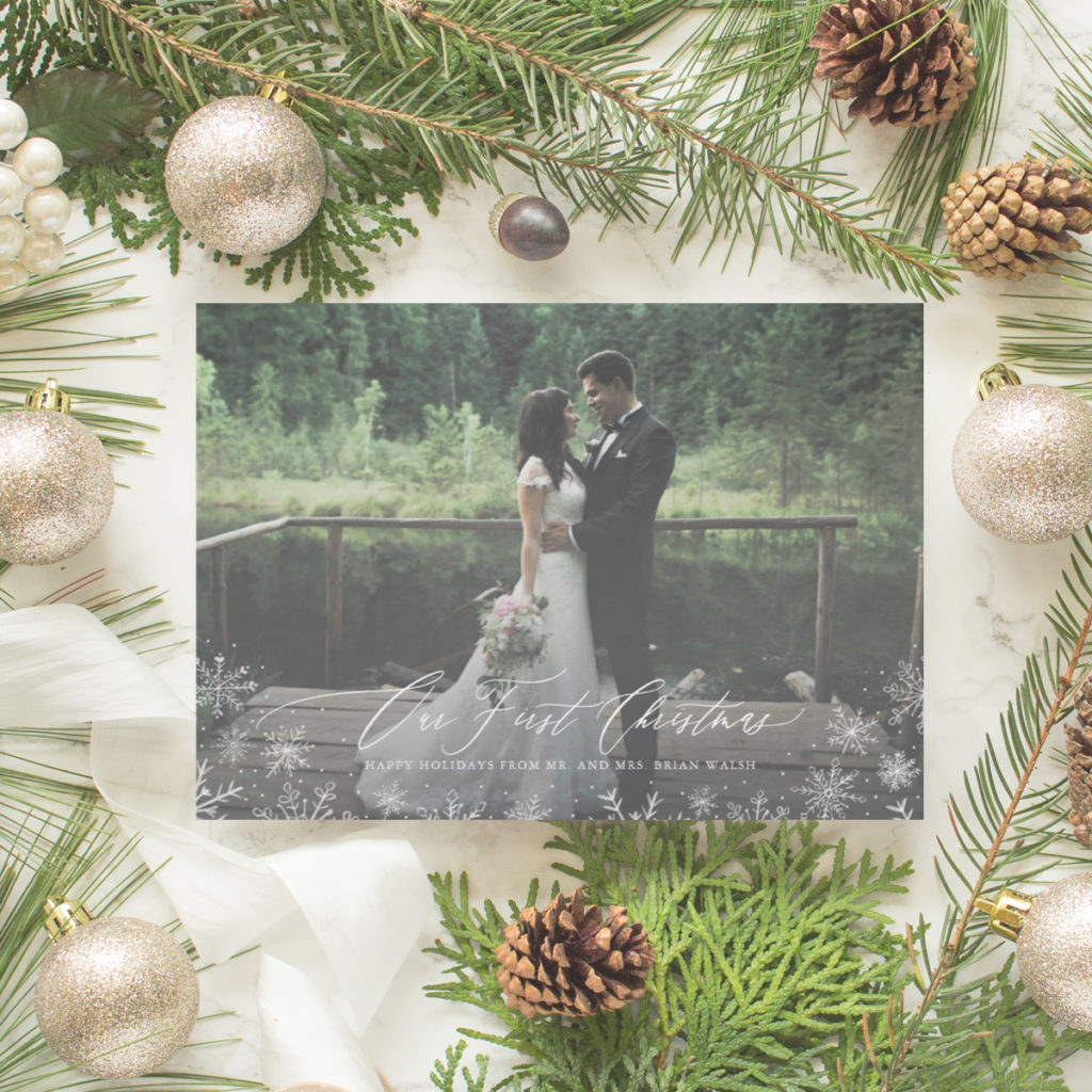 Our First Christmas just married card