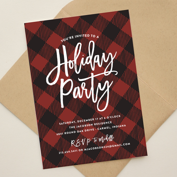 red and black plaid invitations