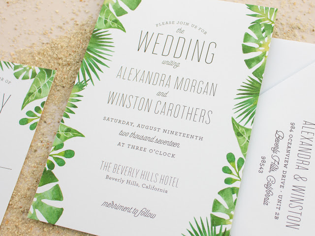 destination invites for palm theme weddings