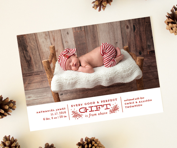 holiday newborn photo cards
