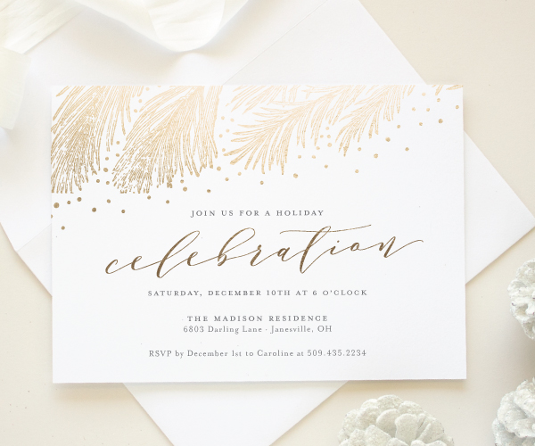 gold foil christmas party invite