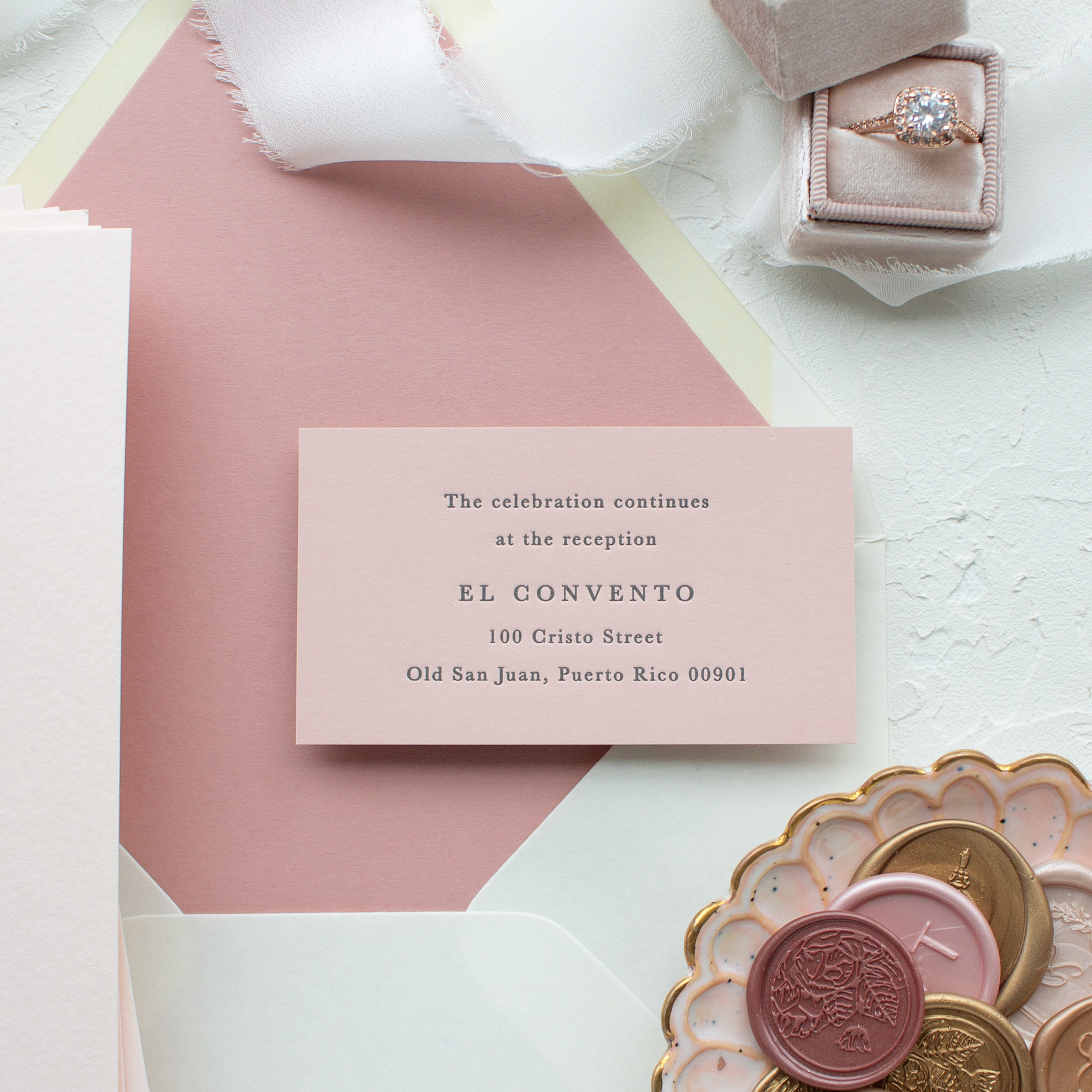 dusty pink wedding reception card