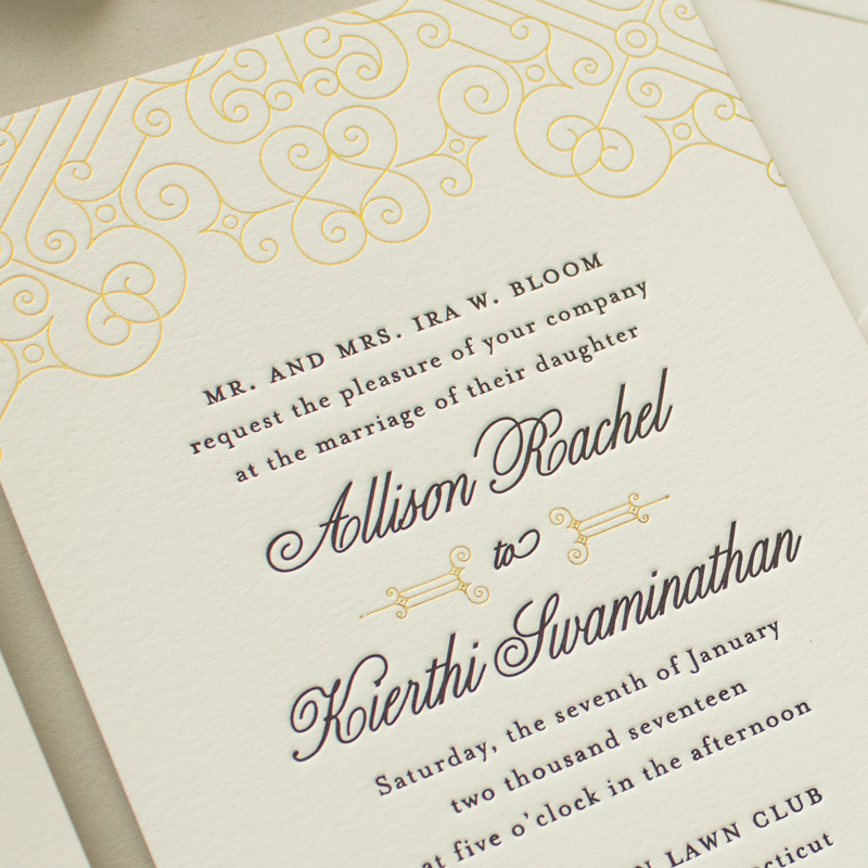 Metallic Gold Edge Painting And Black Wedding Invitations