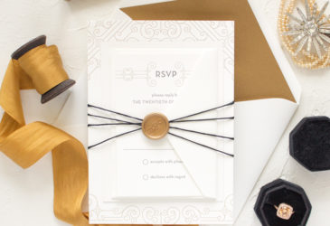art deco invitations in letterpress