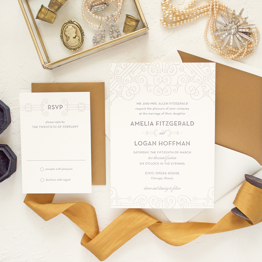 metallic gold letterpress wedding invitations