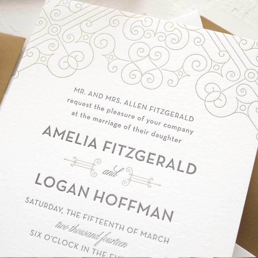 art deco wedding invitations in letterpress