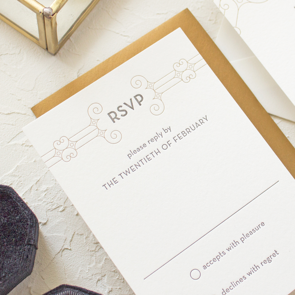 Art Deco Wedding RSVP Card