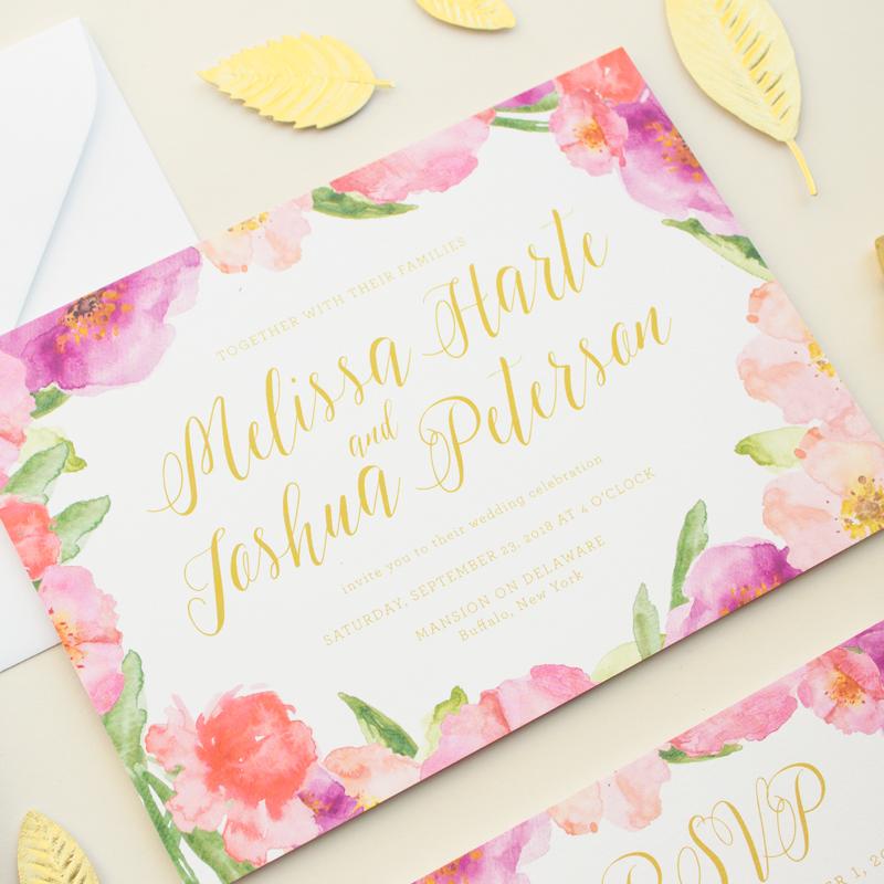 watercolor flowers invitation suite