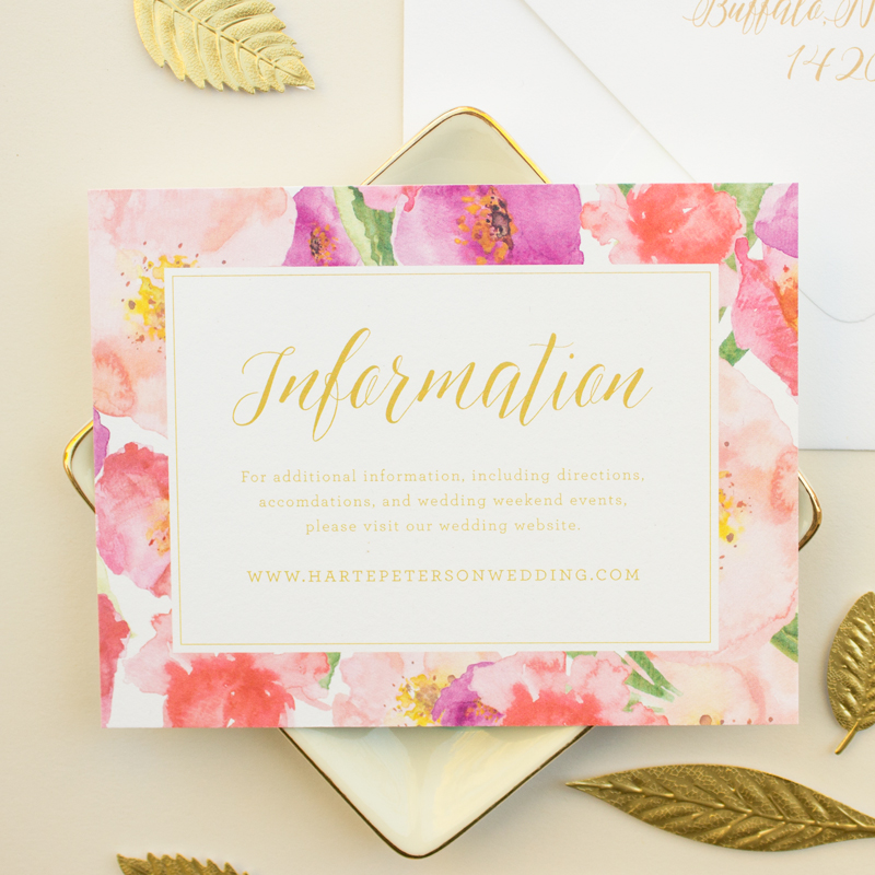 information insert for wedding invitations