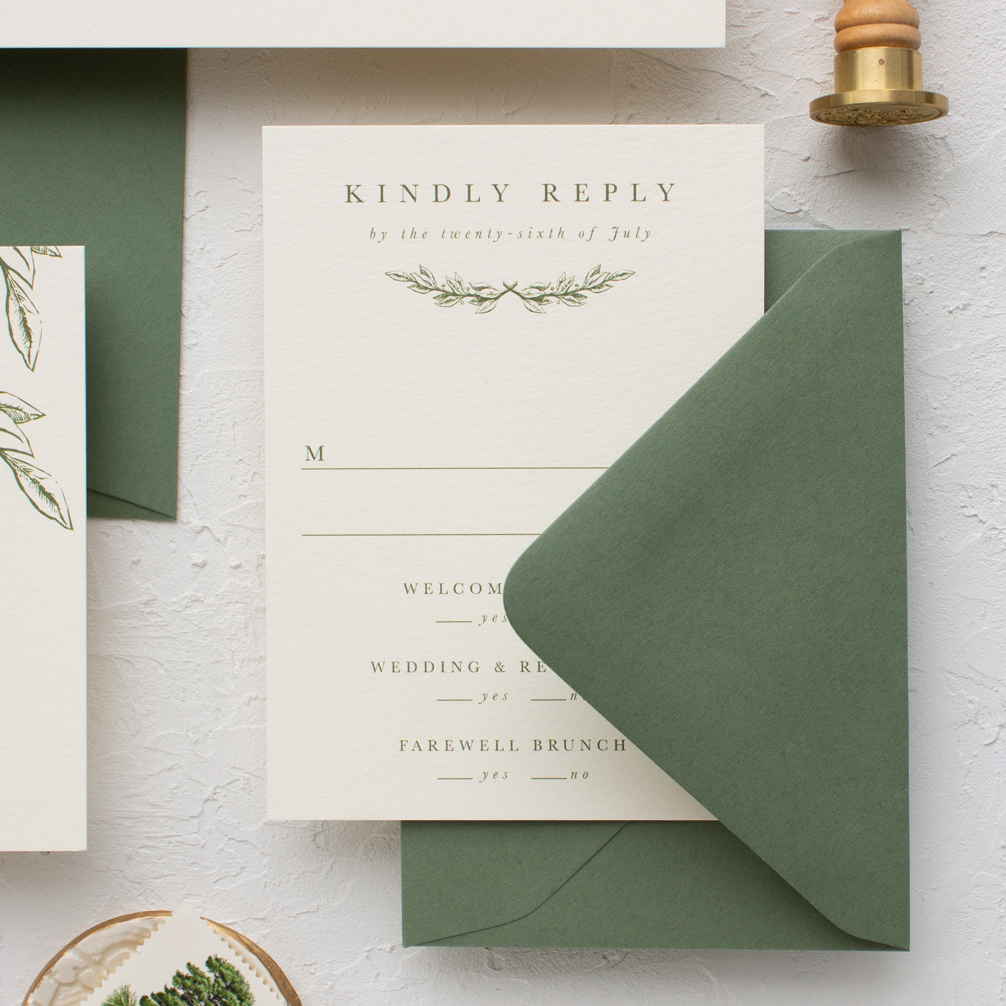 rsvp card with weekend events