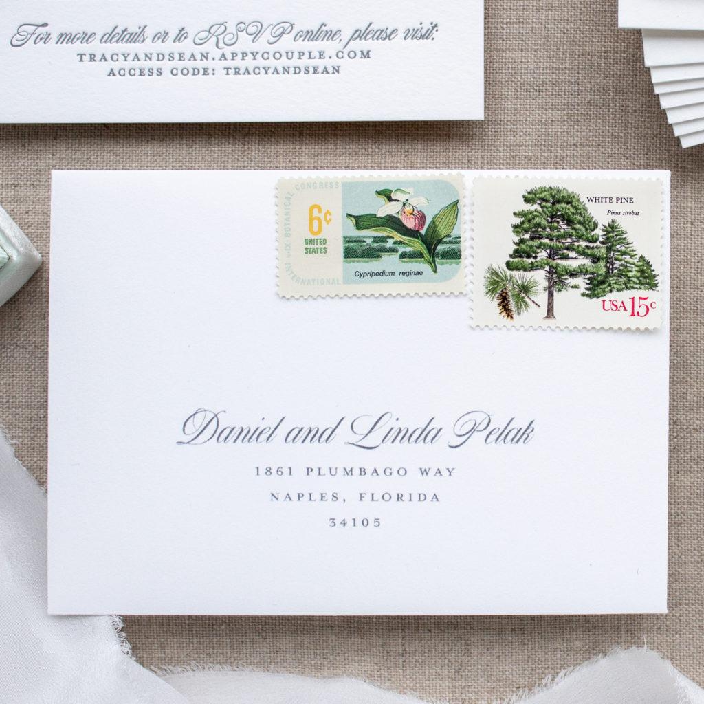 vintage stamps on wedding rsvp