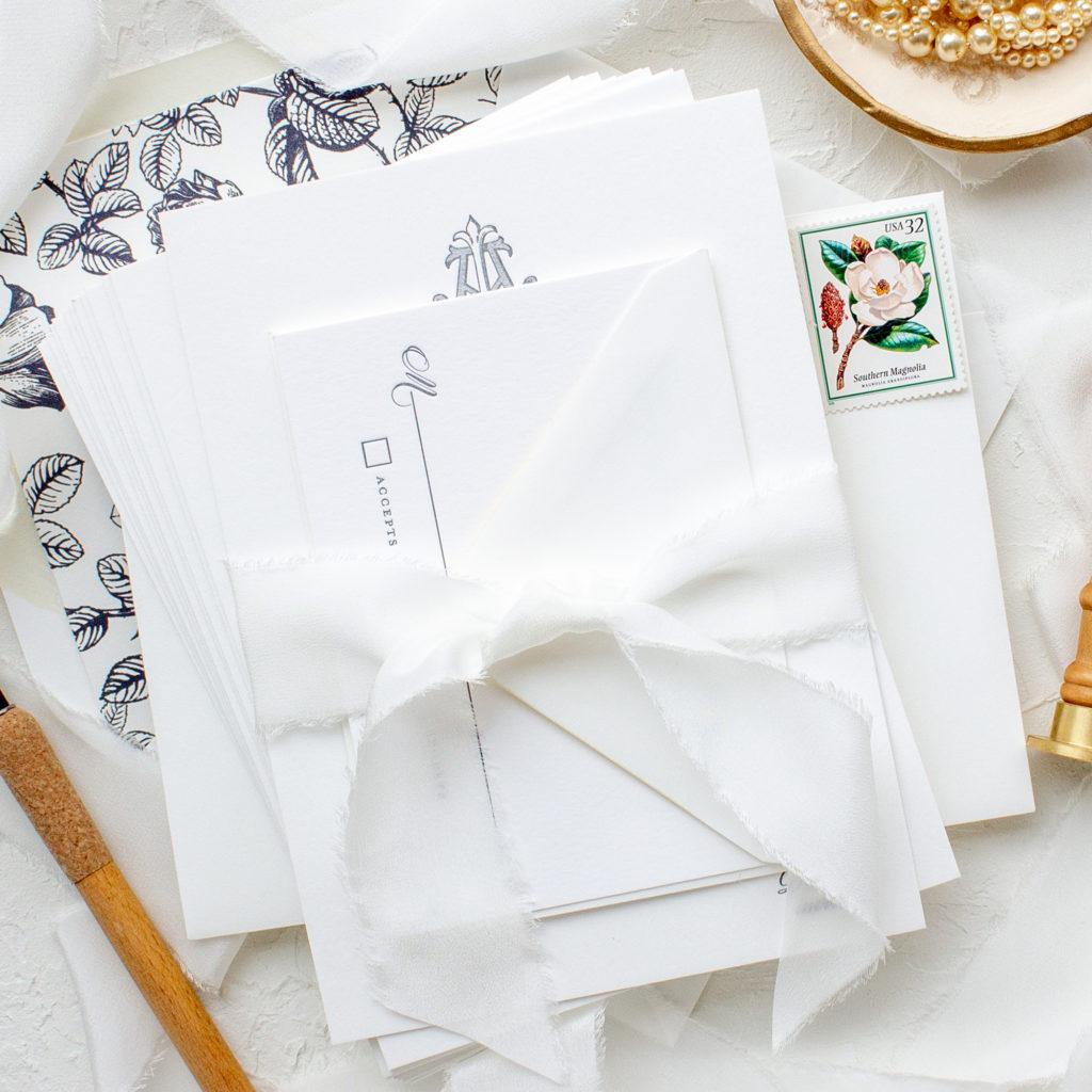 raw edge silk ribbon invitation