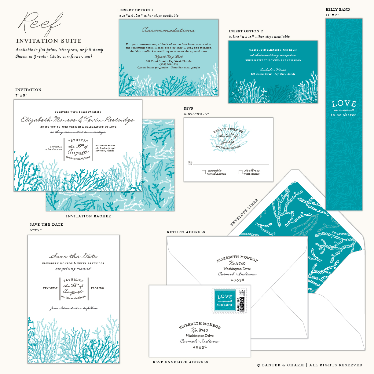 Reef | Beach Wedding Invitation Suite - Banter and Charm