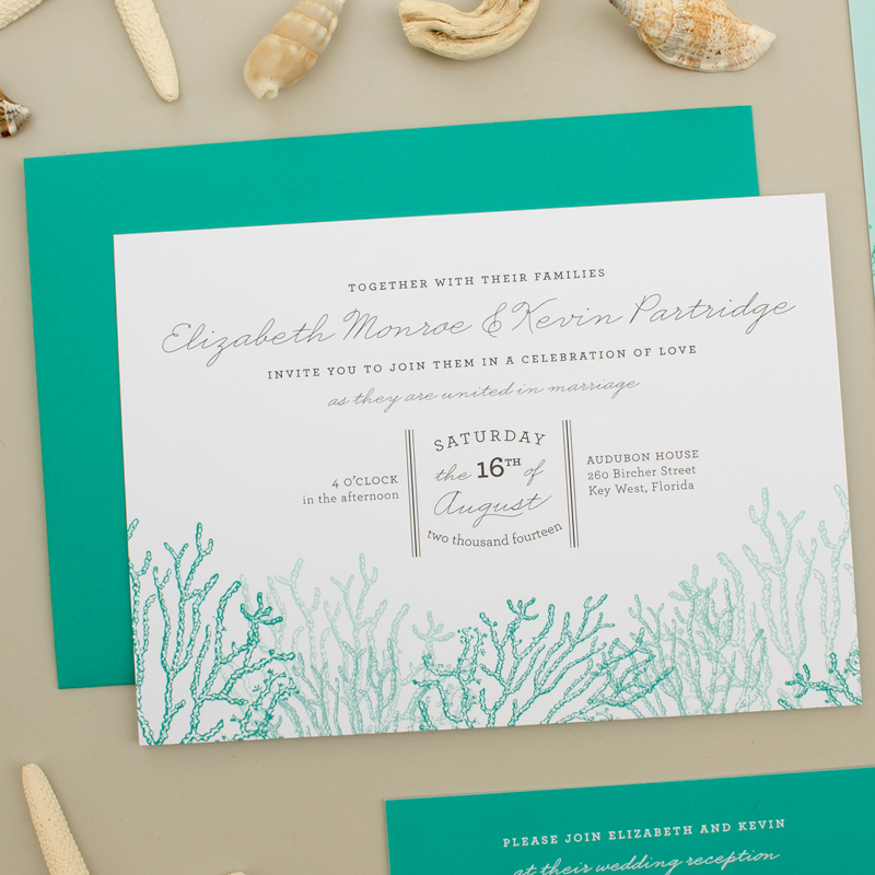 beach wedding invitation suite