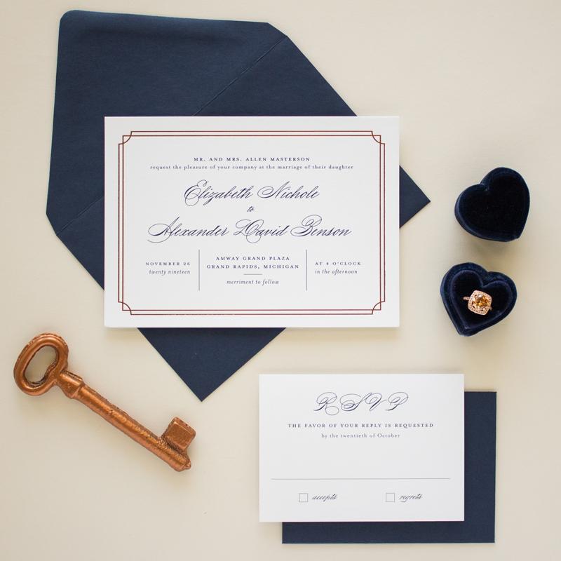 Formal Wedding Invitations in Copper Foil
