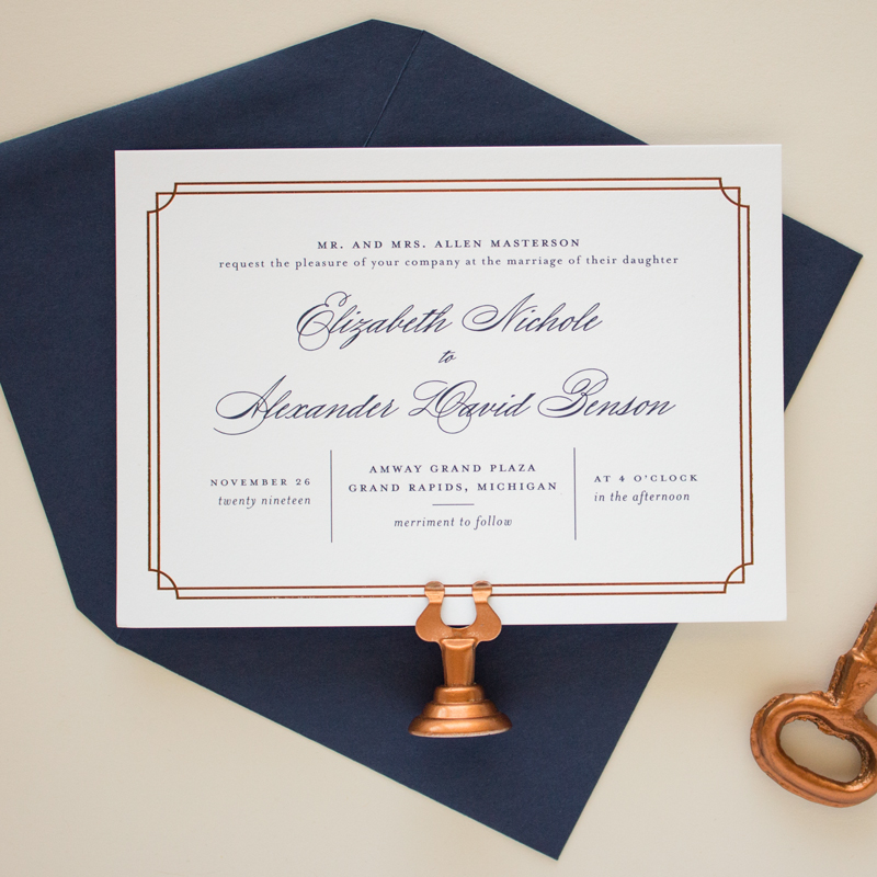 copper and navy wedding invitations