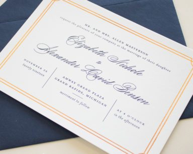 Formal Wedding Invitations in Copper Foil | Refined