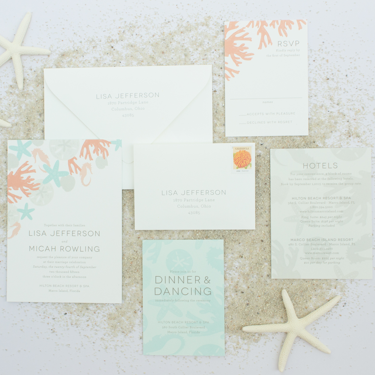 invitation suite for beach weddings