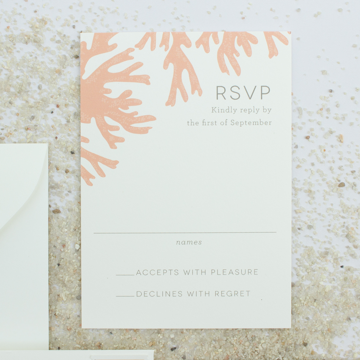 coral reef wedding response card