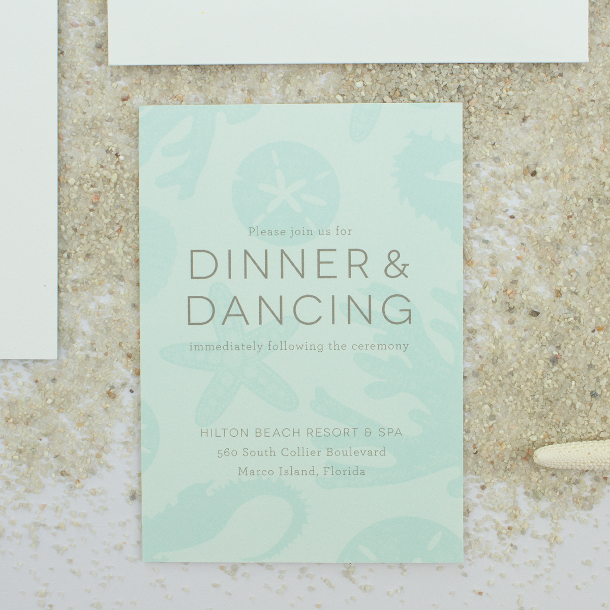 dinner and dancing insert card