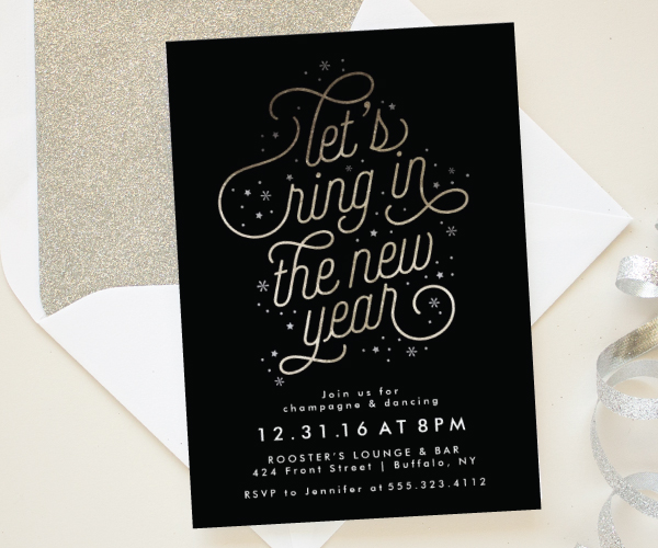 new year gold foil party invitations
