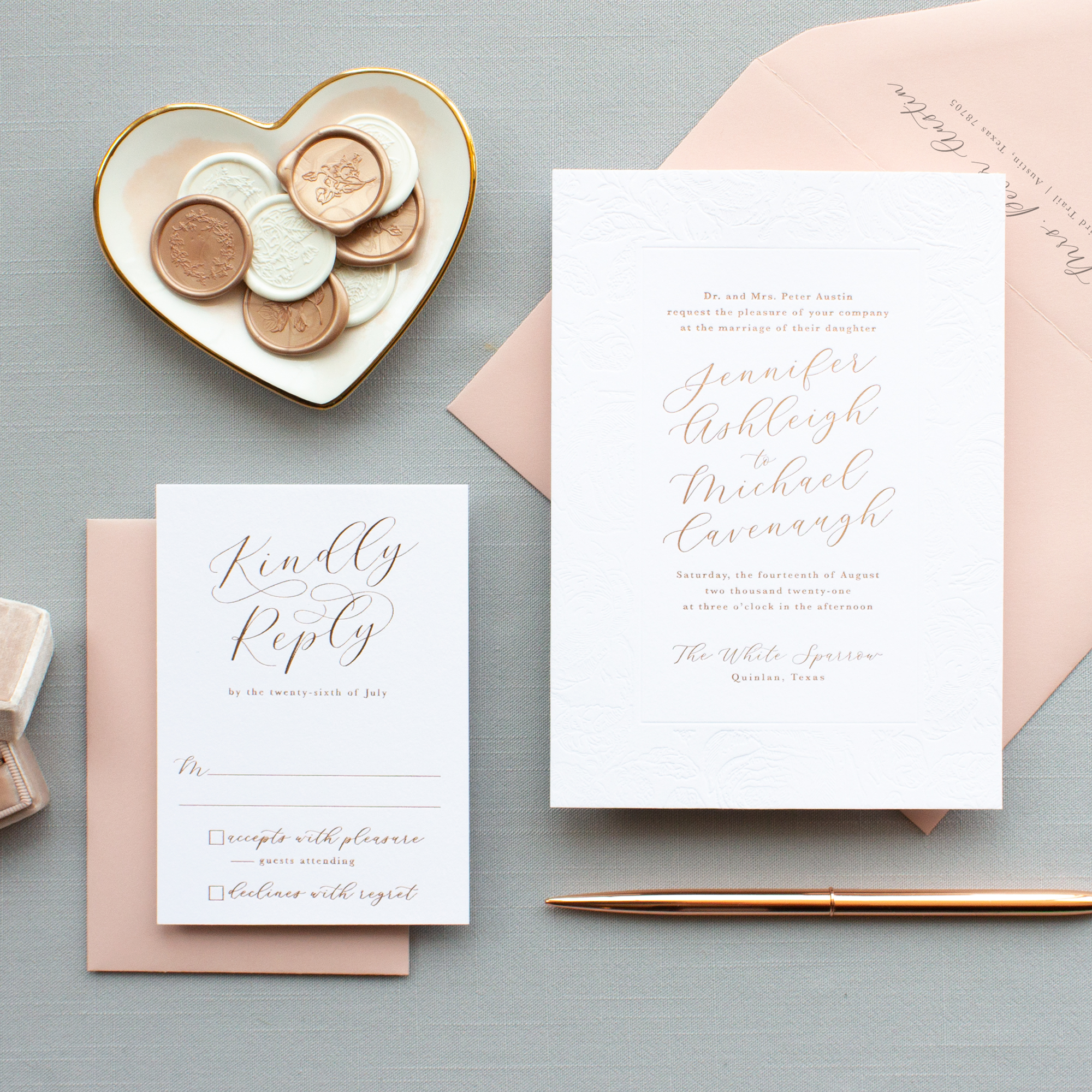 romantic wedding invitations in rose gold