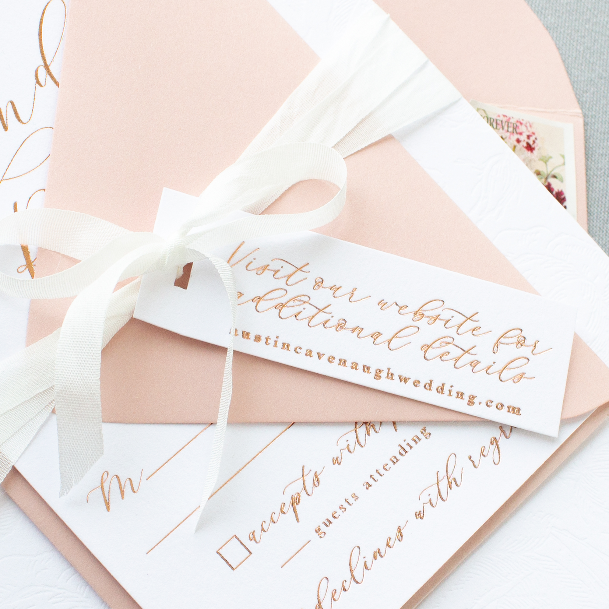 wedding website tag with silk ribbon