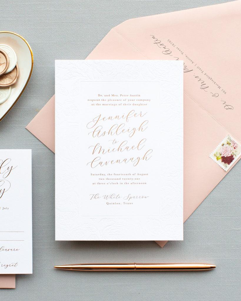 rose gold foil invitations